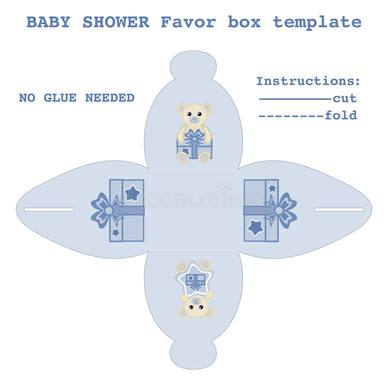 Newborn baby boy gift box pattern vector illustration Baby shower favor box template Favor box with baby bears design DIY cut and vector illustration
