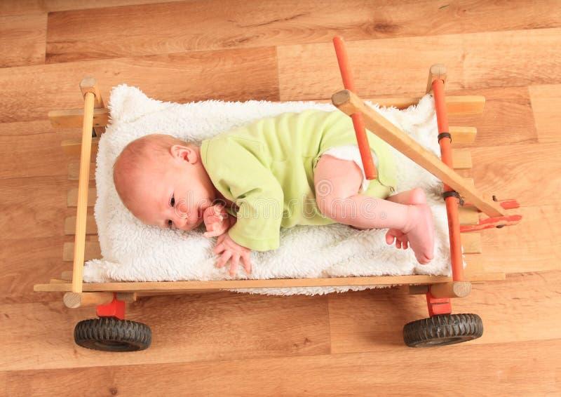 Newborn baby boy lying in carriage stock image