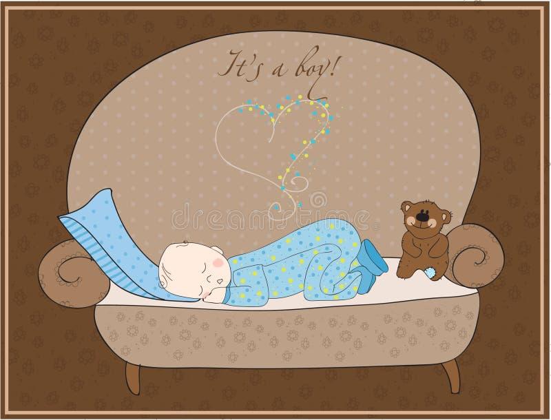 Newborn Baby Boy Sleeping Card vector illustration