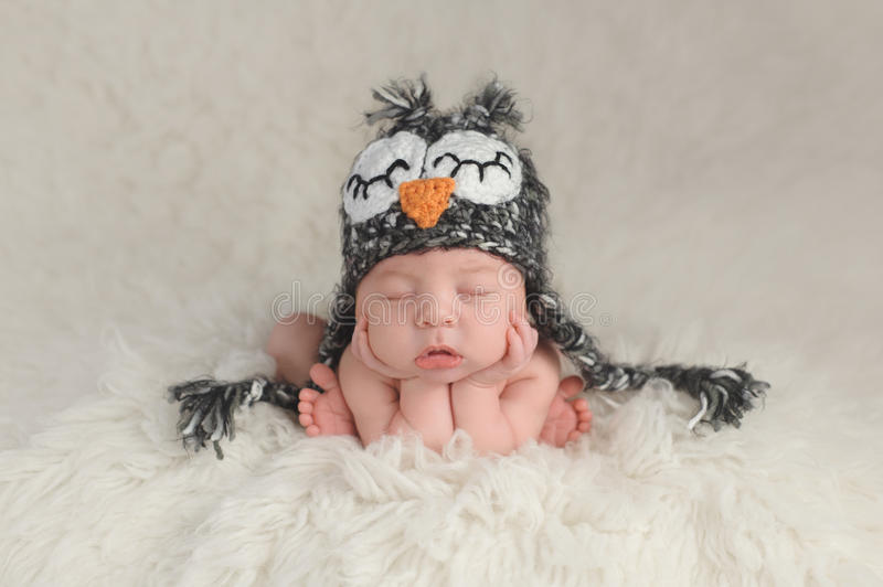 Newborn Baby Boy Wearing an Owl Hat. Three week old newborn baby boy wearing a crocheted owl hat. He's in a cute, curled up, chin on hands pose and sleeping on a stock image