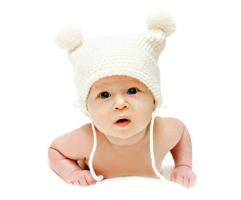 Newborn baby in the cap stock image