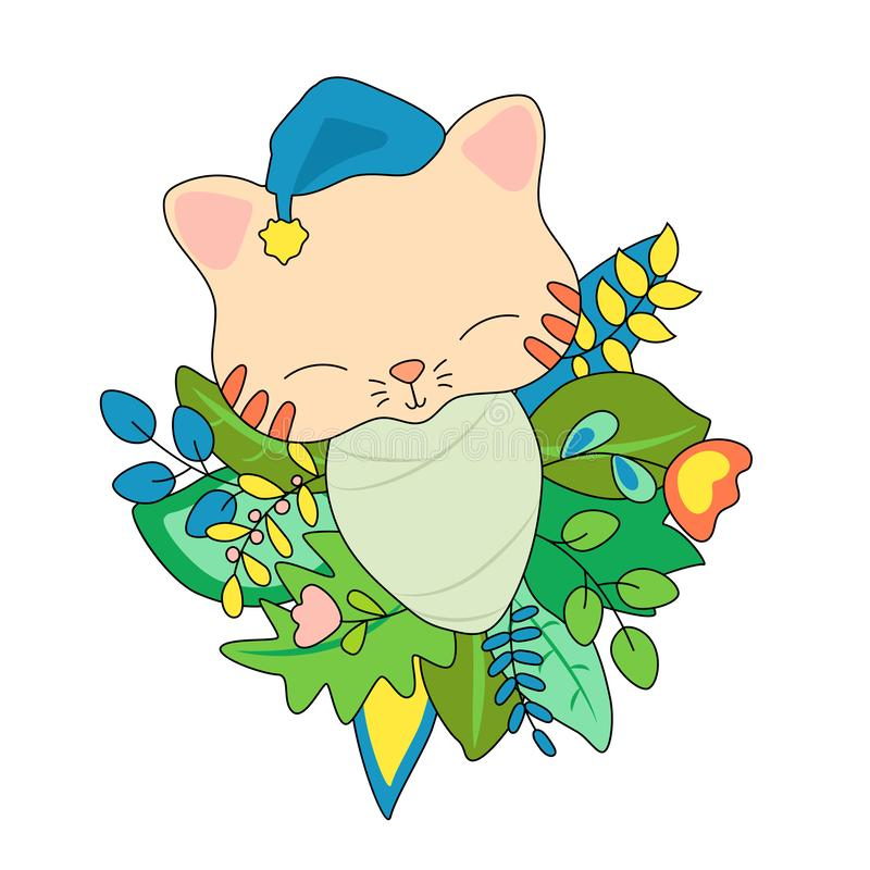 Newborn baby cat in floral wreath. Animal baby vector illustration on white background. Cat toddler in sleeping cap. Kitty baby born in summer foliage and stock illustration