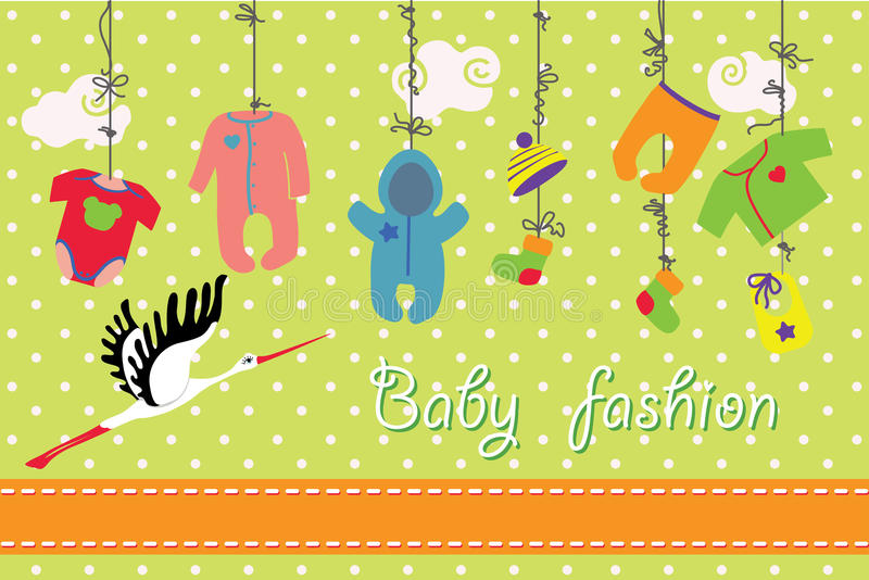 Newborn baby clothes hanging on the rope.Baby fashion set royalty free illustration