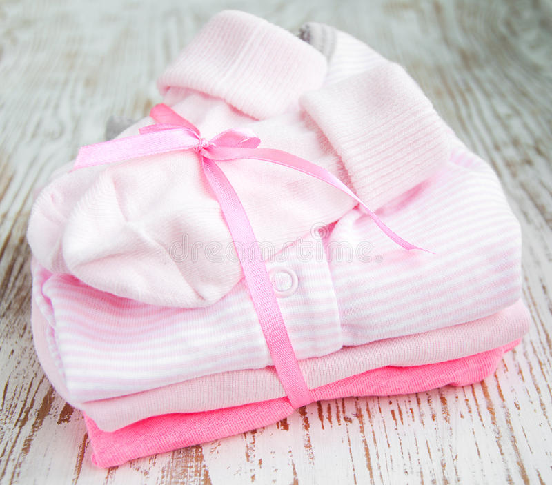 Newborn baby clothes stock image. Image of material, girls ...