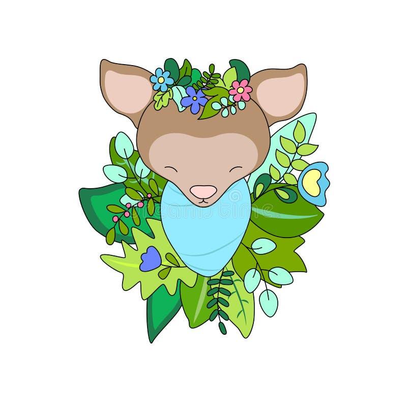 Newborn baby deer in floral wreath. Animal baby vector illustration on white background. Cute deer toddler. Reindeer baby. Wooden animal in summer flowers vector illustration
