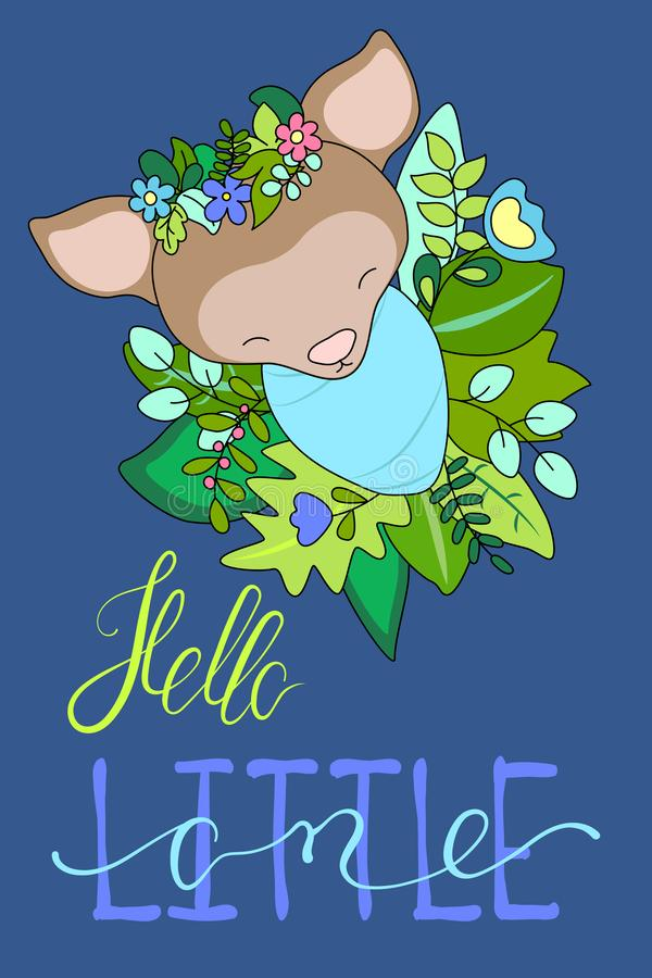 Newborn baby deer in floral wreath with lettering. Cute baby shower illustration. Wooden animal baby shower postcard stock illustration