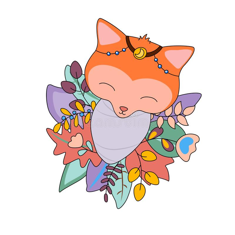 Newborn baby fox in floral wreath. Animal baby vector illustration on white background. Tribal foxie toddler. Wooden animal in autumn or winter foliage vector illustration