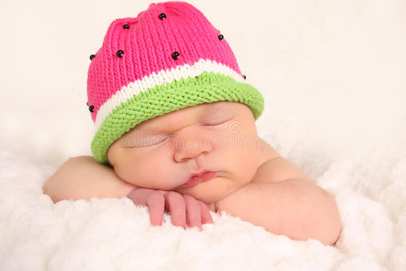 Download Newborn baby girl stock photo. Image of knit, sleepy - 18335814