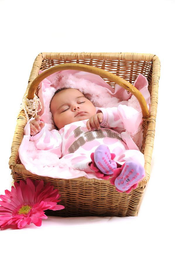 Download Newborn Baby Girl In A Basket, White Beads Stock Photo - Image of mouth, beads: 15869036
