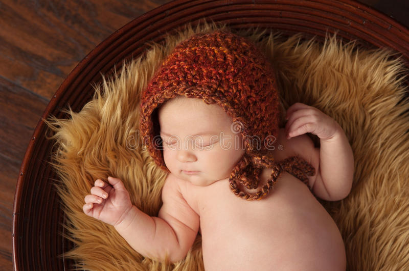 Download Newborn Baby Girl With Bonnet Stock Image - Image: 36437957