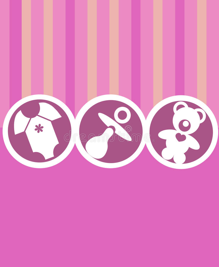 Newborn baby girl card vector illustration