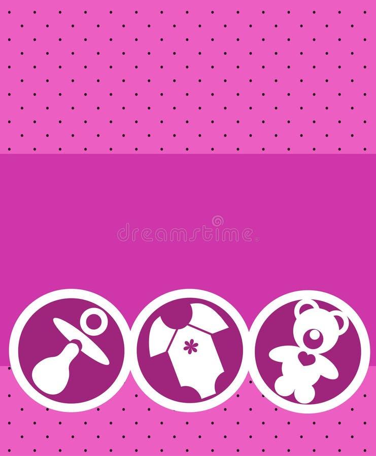 Newborn baby girl card stock illustration