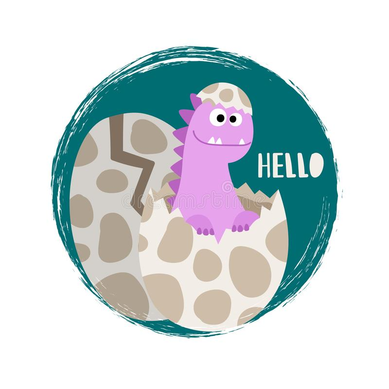 Newborn baby girl dinosaur vector banner flat stock illustration