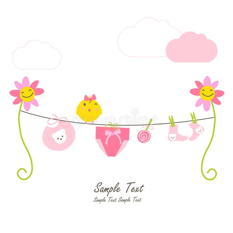 Newborn baby girl, flowers and hanging baby symbols. Vector royalty free illustration