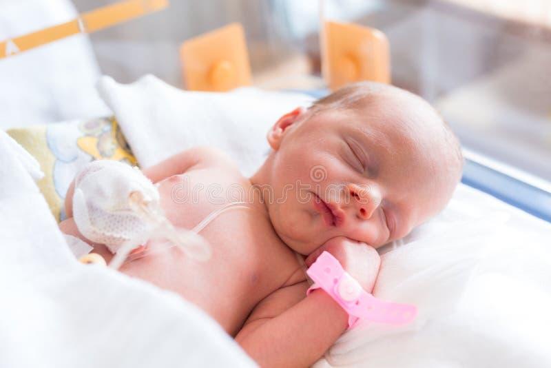 Newborn baby girl in the hospital stock photo