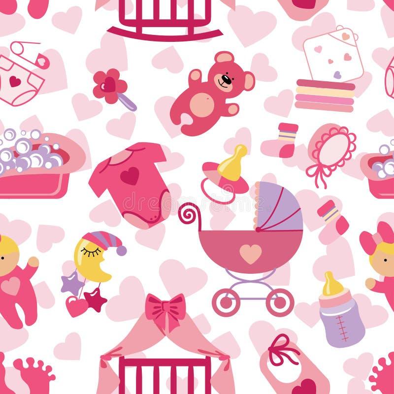 Newborn Baby Girl Seamless Pattern Stock Vector Image