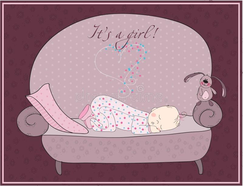 Download Newborn Baby Girl Sleeping Card Stock Vector - Illustration of gift, cute: 16591883