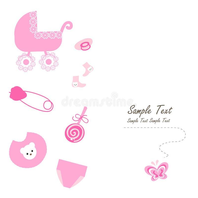 Newborn baby girl symbols vector card. Pink newborn baby girl symbols vector background royalty free illustration
