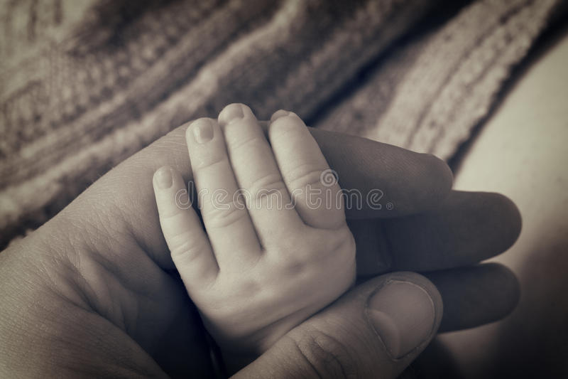Newborn baby hand stock photo