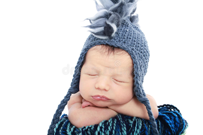 Newborn Baby in Hat royalty free stock images