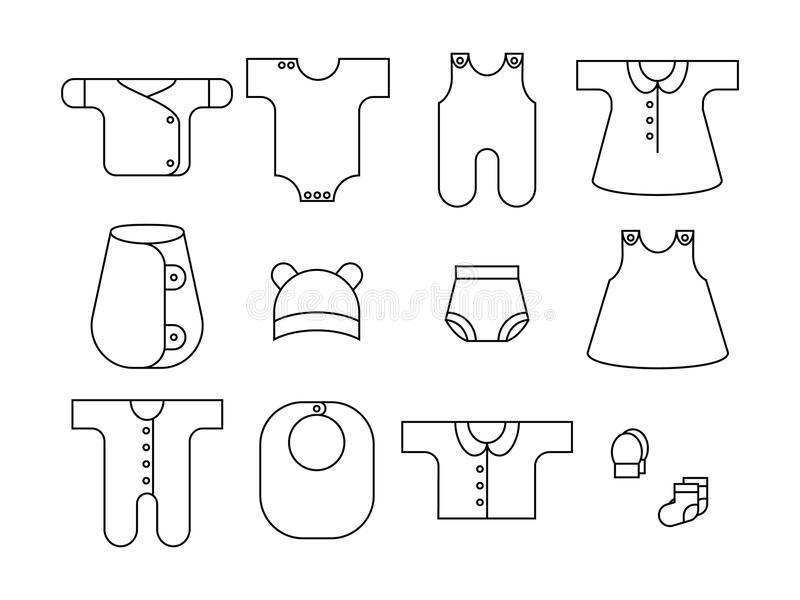 Newborn. Baby icons set. Clothing for babies. Outline. Vector. EPS 8 stock illustration
