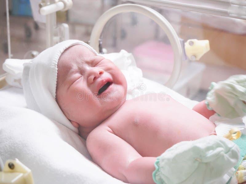 Newborn baby infant sleep in the incubator at hospital. Room stock image