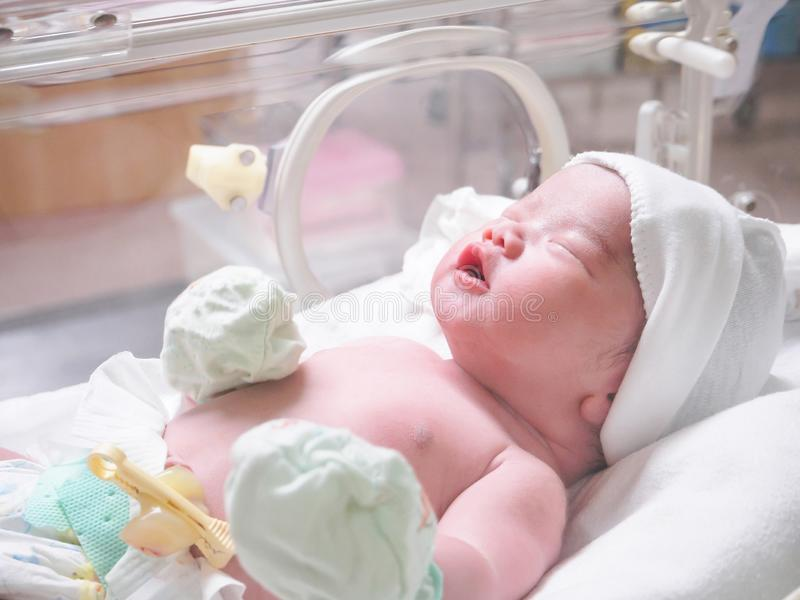 Newborn baby infant sleep in the incubator at hospital. Room royalty free stock images