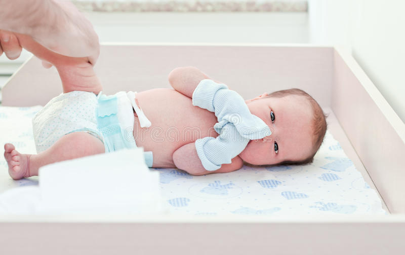 Newborn baby in maternity hospital stock photography