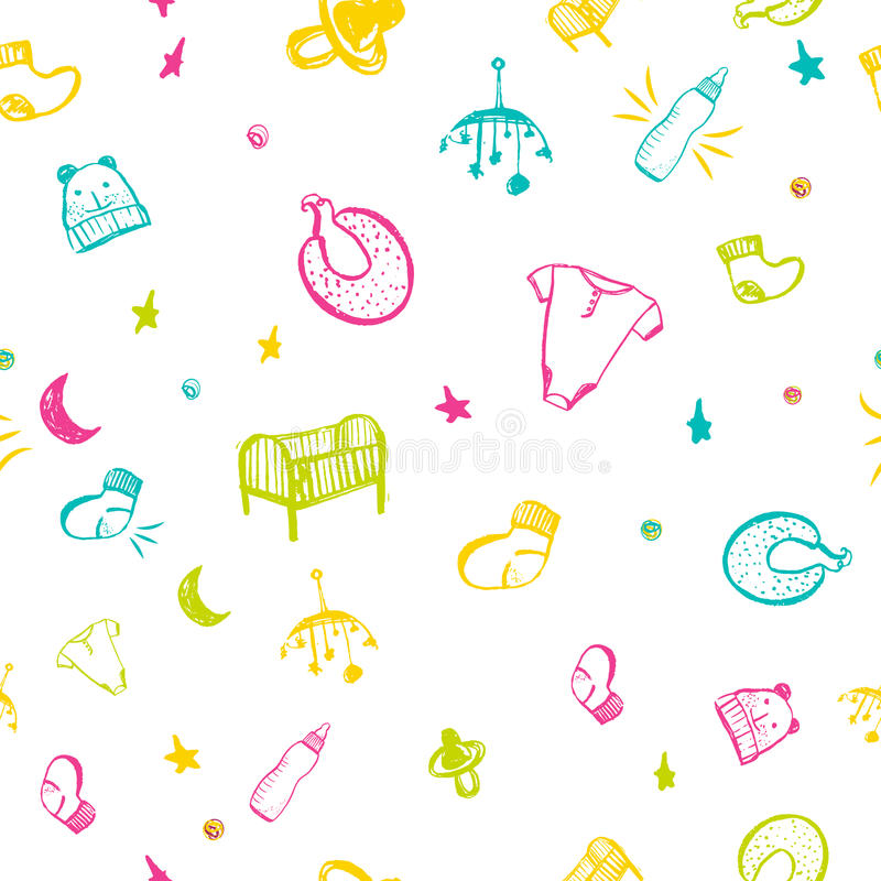 Newborn baby necessities seamless pattern in colorful hand drawn style with bottle, bodysuit, socks. vector illustration