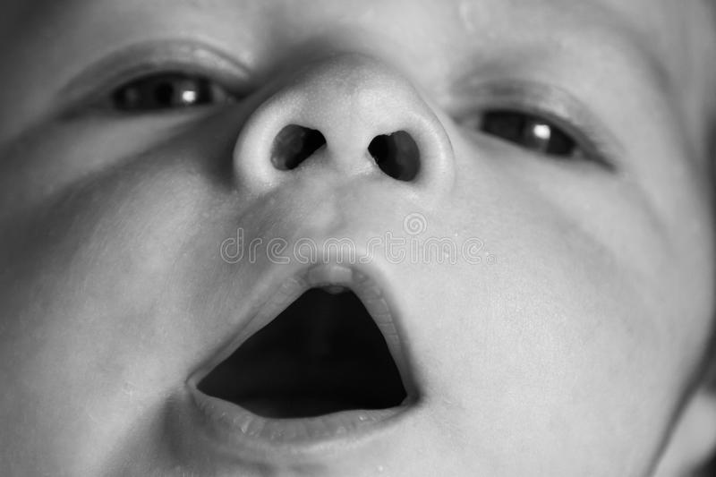 Newborn baby opening his mouth royalty free stock photos
