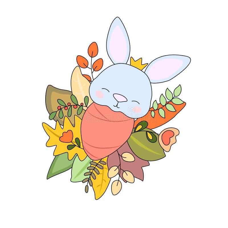 Newborn baby rabbit in autumn leaves, vector illustration on white background. Autumn season new baby stock illustration