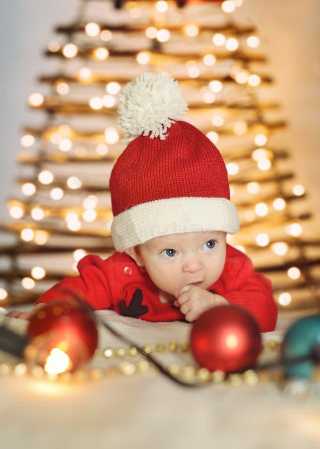Newborn baby santa stock images