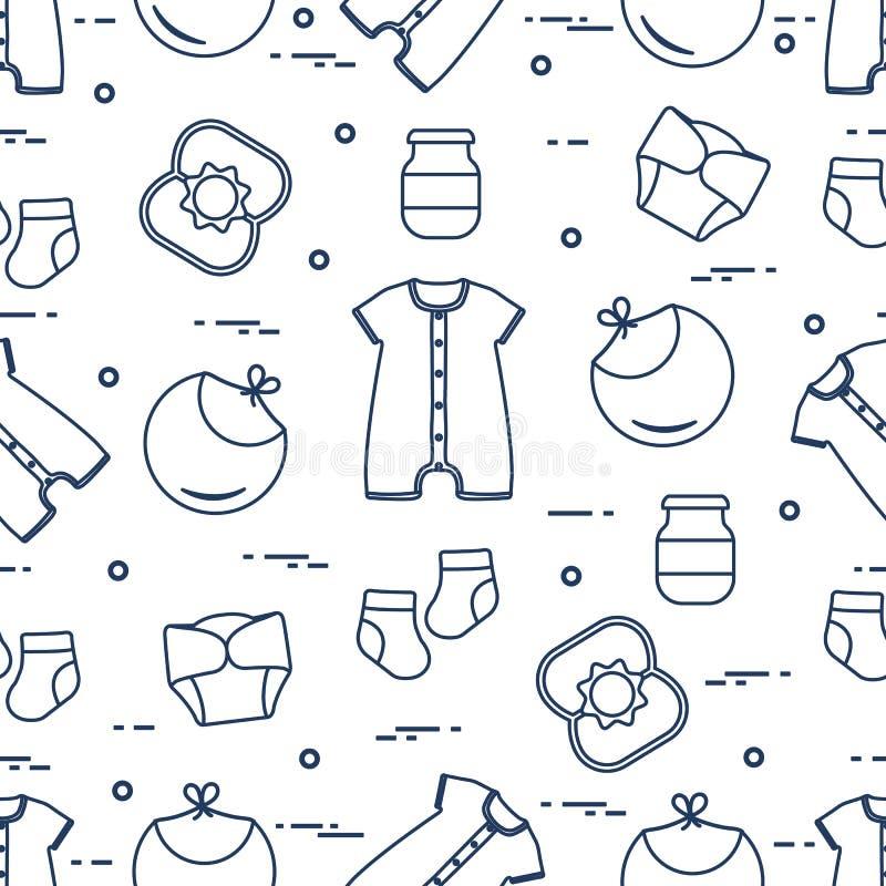 Newborn baby seamless pattern stock illustration
