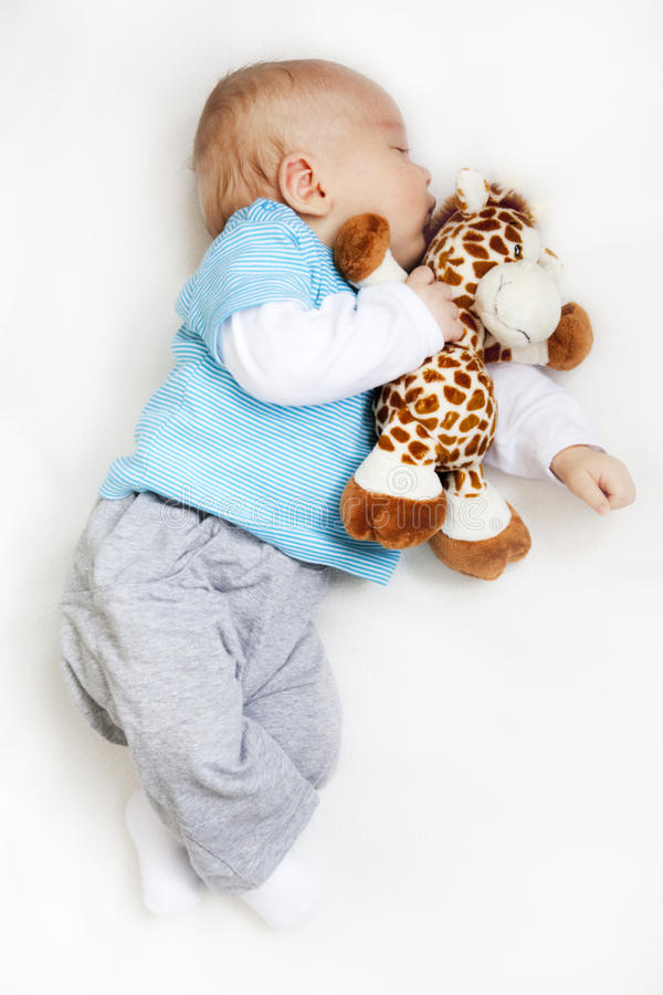 Newborn baby sleeping. Holding teddy bear on white blanket royalty free stock photography