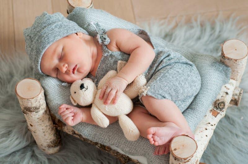 Newborn Asleep Facing Forward Stock Image - Image of nude