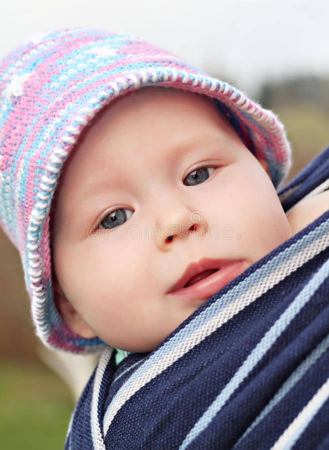 Download Newborn baby in the sling stock image. Image of shawl - 14669843