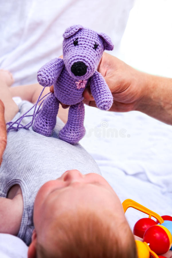 Newborn baby with teddy bear royalty free stock photos