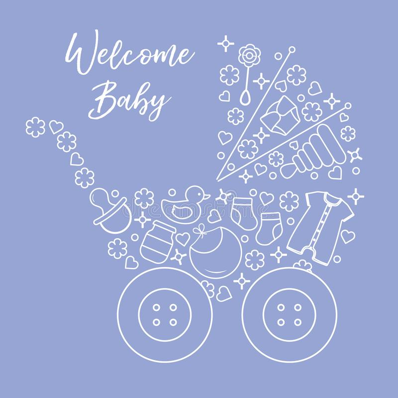 Newborn baby vector illustration. Baby stroller. Vector. Vector illustration with baby stroller, goods for babies. Newborn baby background. Baby nipple, socks vector illustration