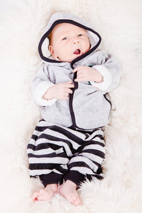 Newborn Baby yawning royalty free stock image