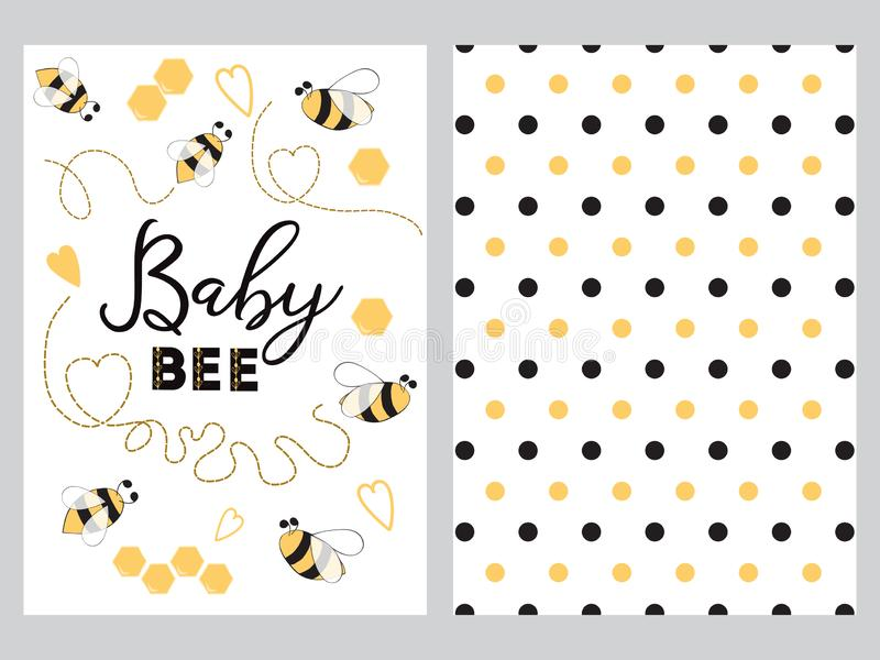 NewBorn banner design text Baby bee decorated bee heart honey sweet Plka Dot background set royalty free illustration