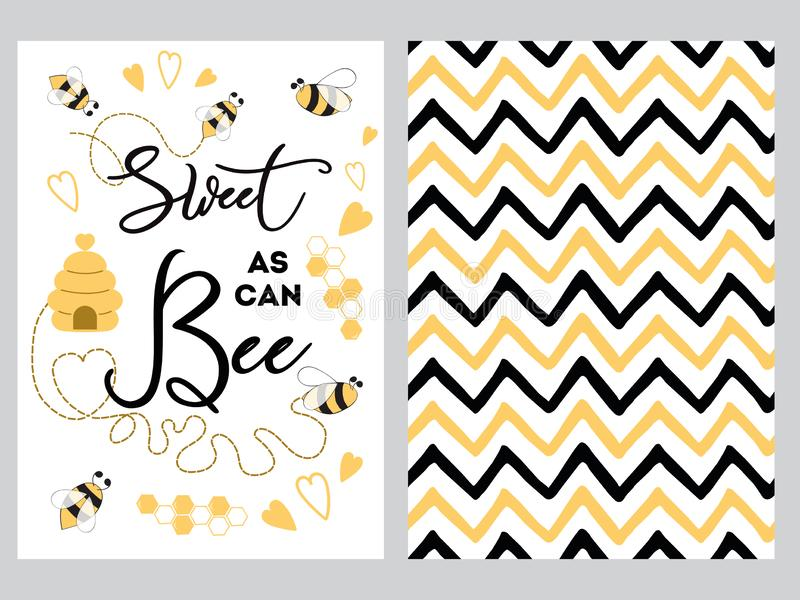 NewBorn banner design text Sweet as can Bee decorated bee heart honey sweet Zig Zag yellow black background set royalty free illustration