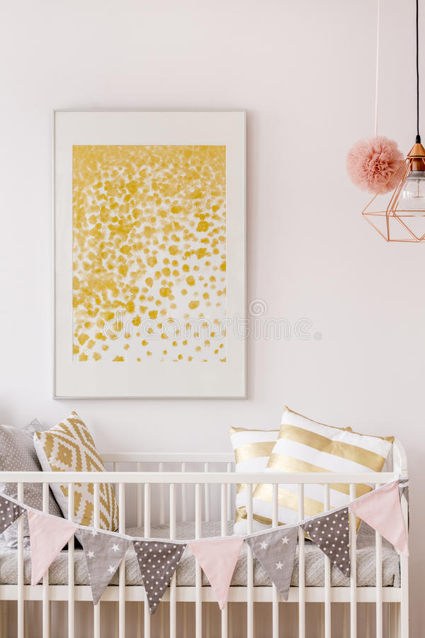 Newborn bedroom with white cot royalty free stock images