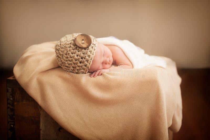 Newborn in a box stock photos