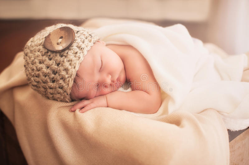 Newborn in a box royalty free stock photos
