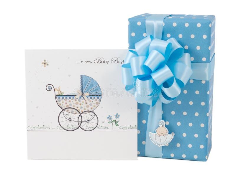 Newborn boy blue gift box greeting card isolated stock image