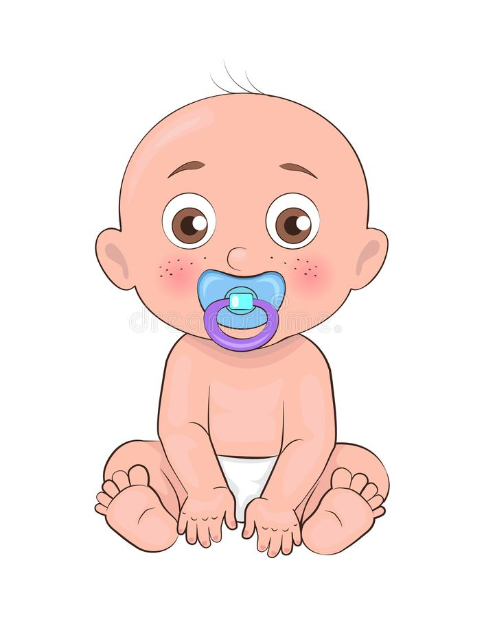 Newborn Boy Toddler Pacifier in Mouth and Diapers. Newborn boy toddler with pacifier in mouth and dressed in diapers vector illustration of bold infant male vector illustration