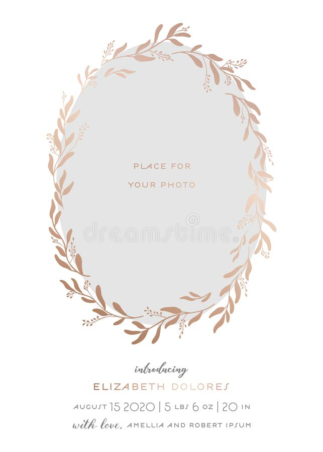 Newborn Child Greeting Card with Floral Elements. Baby Shower Template Photo Frame with Flowers. Wedding Invitation Save the Date. Card with Wreath, Leaves royalty free illustration