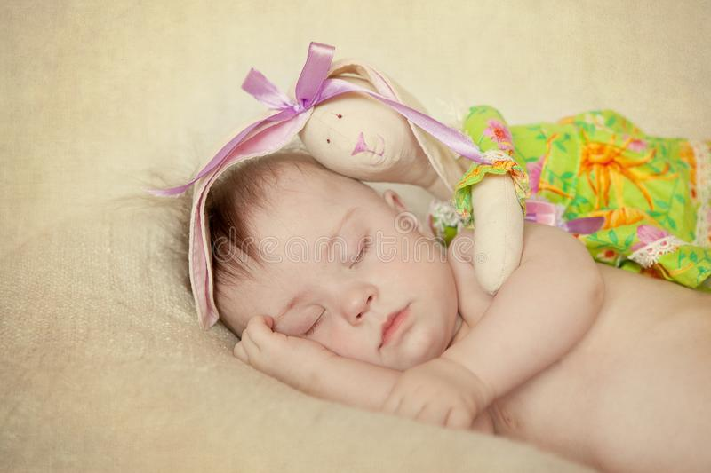 Newborn with Down syndrome sleeping royalty free stock photos