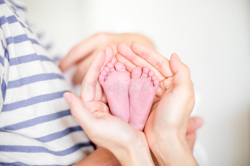 Newborn feet stock image