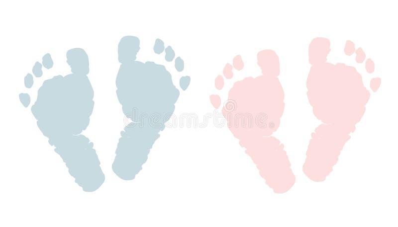 Newborn footprints. Baby girl and boy foots vector illustration